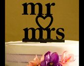 MR and MRS Wedding Cake Topper with heart, black