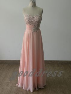 Custom sexy pink sweetheart crystal beaded ruched chiffon floor length formal bridesmaid/party/prom/cocktail/evening dress gown. $129.99, via Etsy.