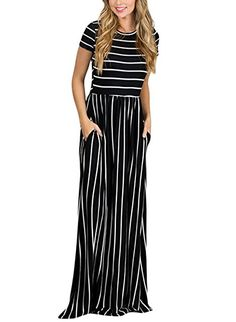 Women's Summer Casual Loose Striped Long Dress Short Sleeve Pocket Maxi Dress  Long Dress with short sleeves Round Neck Maxi Jeysey Dresses Soft and Comfortable Fabric,Perfect for Casual,Vacation,Party etc