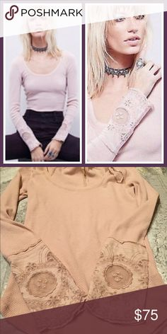 Free People NWOT thermal New Free People Lovely Lady cuff thermal. NWOT online order. Blush Free People Tops Tees - Long Sleeve