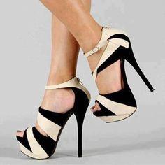 Moda Blanco y Negro Color contraste Peep Toe Zapatos de tacón alto ...