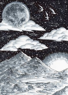Black and white drawing Black And White Drawing, Universe, Ink, Celestial, Drawings, Outer Space, India Ink, The Universe, Drawing