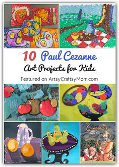 10 Paul Cezanne Art Projects for Kids Browse selection of art appreciation projects for kids, Open process art, watercolor techniques, and decoration ideas also provide excellent inspiration for kids. Art Lessons For Kids, Artists For Kids, Art Lessons Elementary, Art For Kids, School Art Projects, Projects For Kids, Cezanne Art, Paul Cézanne, Montessori Art