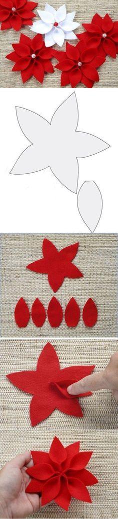 23 Clever DIY Christmas Decoration Ideas By Crafty Panda Felt Christmas Decorations, Felt Christmas Ornaments, Christmas Art, Christmas Projects, Christmas Poinsettia, Christmas Bells, Christmas Angels, Felt Flowers, Fabric Flowers