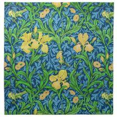 William Morris Iris Pattern Yellow and Cobalt Blu Cloth Napkin - flowers floral flower design unique style