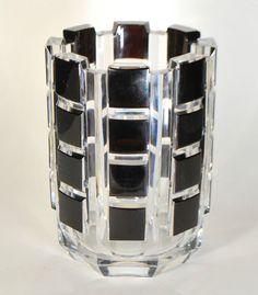 Val St Lambert vase 'Bomal', cristal clair doublé prune. Dessiné par Charles Graffart 1938. H 22cm.