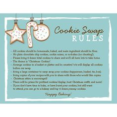 Best Invitation Ideas: Cookie Exchange Ideas and Invitations Holiday Baking, Christmas Baking, Christmas Tea, Christmas Goodies, Vintage Christmas, Christmas Wishes, White Christmas, Christmas Cookie Exchange, Cookie Exchange Rules