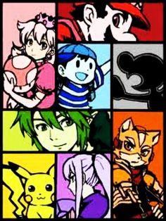 Mr. Game & Watch, Ness, Link, Samus Aran, Mario, Pikachu, Princess Peach and Fox.