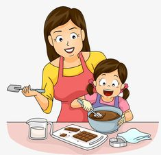 Cartoon Little Girl And Her Mother - mãe - Cartoon little girl and her mother, Cartoon, Hand Painted, Lovely PNG Image -