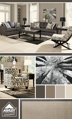 Love the gray and the pillows with stripes!