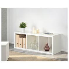IKEA - KALLAX, Shelving unit, white, Choose whether you want to place it vertically or horizontally and use it as a shelf or sideboard. Ikea Kallax Shelving, Kallax Shelf Unit, Ikea Kallax Regal, Ikea Co, A Shelf, Shelves, Buffet, Honeycomb Paper, Floating Nightstand