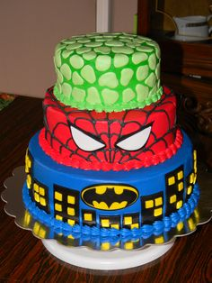 Averys Birthday cake idea!! :)  Batman, Spiderman and Hulk cake