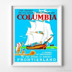 Vintage Disneyland Columbia Print. Prices from $9.95. Available at InkistPrints.com - #disneyland#vintage#disney#babyroom#nurseryart#Columbia