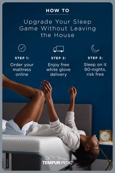 How to upgrade your sleep game without leaving the house: Step order your mattress online Step Enjoy free white glove delivery Step Sleep on it 90 nights, risk free Rainbow Bedroom, Lab, Design Theory, Creative Advertising, Good Sleep, Social Media Design, Ad Design, How To Know, Interior Design Living Room