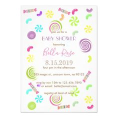 Sweet Candy Baby Shower Invitations Green Candy, Mint Candy, Baby Shower Candy, Baby Shower Themes, Colorful Baby Showers, Lollipop Candy, Custom Baby Shower Invitations, Wedding Color Schemes, Special Day