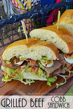 Grilled Beef Cobb Sandwich | A giant sandwich filled with tender grilled beef, lettuce, boiled eggs, tomatoes and bacon topped with a delicious avocado ranch spread.