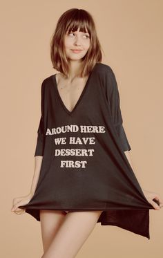 Ice cream for breakfast. Around here we have desert first. The Sunday Morning Tee features a long and loose body with a drippy, oversized fit. Relaxed v-neck. High-low hem. Soft and lightweight tissue jersey knit. In Vintage Black & Pool Dip. 50% Cotton, 50% Polyester Model wears a size small.