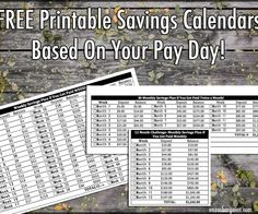 FREE Savings Printable Calendar Based on when you get paid: weekly, monthly, bi-monthly! Awesome IDEA!