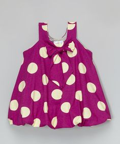 This Fuchsia Polka Dot Bubble Dress - Infant, Toddler & Girls by Right Bank Babies is perfect! #zulilyfinds