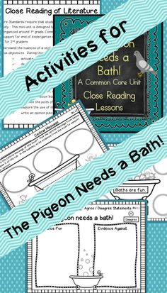 Build Close Reading Skills in First Grad with Mo Willems' book The Pigeon Needs a Bath!