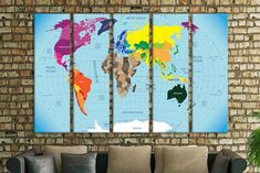 Blue world map world map room decor prints on canvas canvas map push pin travel map wall art world map personalized map canvas push pin pin board map wall map push pin personalized push pin map big canvas gumiabroncs Images
