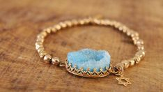 EASTER GIFTS, Gold Beads Bracelet, Agate Druzy Bracelet, Light Blue Druzy Bracelet, Blue Bracelet, Star of David Bracelet, Jewelry Gift