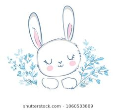 Cute Bunny, Vector Illustration, Hand Drawn Cute R Easter Drawings, Doodle Drawings, Doodle Art, Kawaii Bunny, Cute Bunny, Kawaii Drawings, Cute Drawings, Scrapbooking Image, Bunny Sketches
