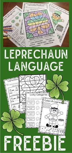 FREE no prep language worksheets in a leprechaun theme! Speech Therapy