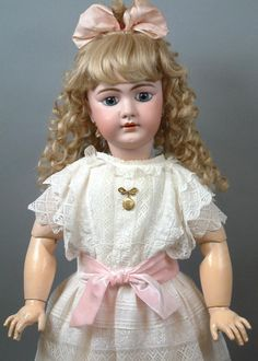 "30.5"" French DEP  Bebe in Stunning Antique White Lace Dress, ""Goldielocks"" Hair & Mesmerizing Blue Paperweight Eyes"