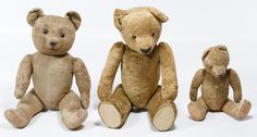 Lot 433: Beige Velvet and Mohair Bear Assortment; Three unmarked bears including one with shoe button eyes and curled arms, a beige velvet bear with glass eyes and a small mohair bear with cloth pads