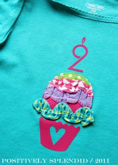 Positively Splendid {Crafts, Sewing, Recipes and Home Decor}: Ruffled Birthday Cupcake Tee