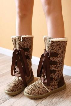Leopard Print Lace up Warm Winter Boots