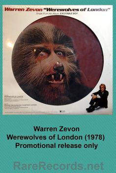 """Warren Zevon - Werewolves of London 12"""" single picture disc, issued only as a promotional item in 1978 #vinyl #records #picturedisc"""