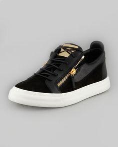 Men\'s Zip Suede Low-Top Sneaker, Cam Nero by Giuseppe Zanotti at Neiman Marcus.