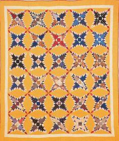 Pine Burr Quilt, 1898. Made by Lucretia Florence Craft Rissler Baumunk. Putnam Co, Indiana.