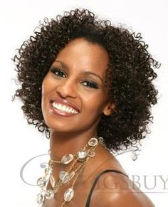 curly hairstyles for african american women over 50 | African American Popular Hairstyle Short Curly 8Inches Black Human ...