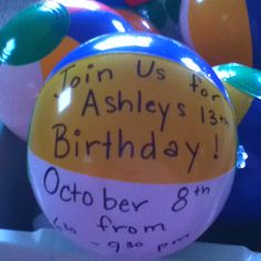 """LOVE this for when Aislynn gets a little .. a LOT older! LOL!! - Beach/Pool Parties: Mini beach balls as invitations. On the envelope """"inflate for the date."""" #children #child #toddler #baby #first #kid #birthday #party #buffet #celebration #decorate #table #beach #pool #invite #invitation #ball"""