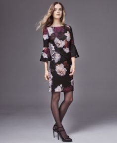 Calvin Klein Floral-Print Bell-Sleeve Sheath Dress - Purple 16