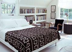 built-in bookcase + bedroom design by Betsy Brown Interiors Dream Bedroom, Home Bedroom, Modern Bedroom, Bedroom Decor, Bedroom Interiors, Master Bedroom, Serene Bedroom, Summer Bedroom, Contemporary Bedroom