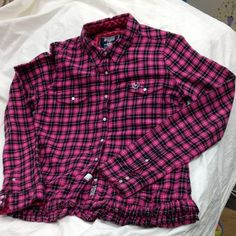 "PINK Pink Plaid Flannel Shirt PINK Pink Plaid Flannel Long Sleeve Freshly Dry Cleaned Shirt, sleeve length 28"", Chest 36"" PINK Victoria's Secret Tops"