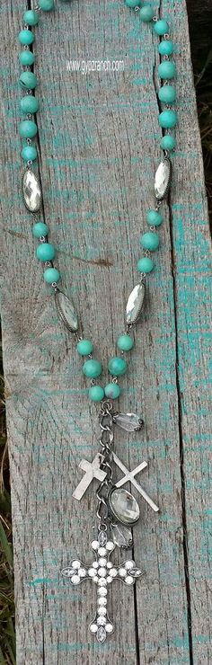 Shining Solo Turquoise Long Cross Necklace Set