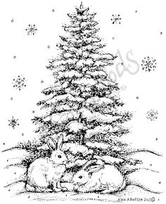Northwoods Rubber Stamps - Wood Mounted - Two Bunnies And Snowy Spruce Noel Christmas, Christmas Colors, Christmas Crafts, Coloring Book Pages, Coloring Pages For Kids, Christmas Coloring Sheets, Wood Burning Art, Christmas Drawing, Wood Stamp