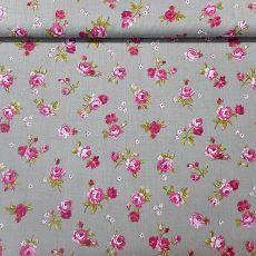 metrový-bytový textil-Želiezovce - METROVÝ TEXTIL - Látka sivá s ružovými ružičkami
