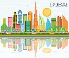 Dubai Skyline with Color Buildings, Blue Sky and Reflection.