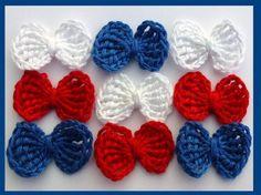 Crochet applique 9 crochet applique bows by MyfanwysAppliques, £2.25