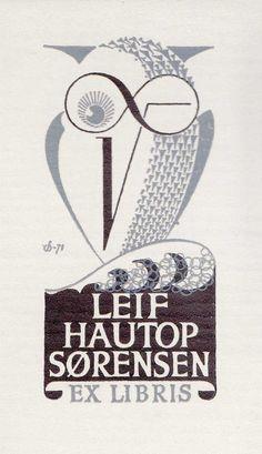 EXLIBRIS BOOKPLATE 1971 DENMARK CHRISTIAN BLAESBJERG OWL 9X6CM X 1317