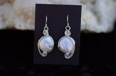 White Cultured Pearl Earrings in Sterling Silver by KosmicKrystals