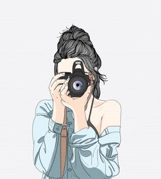 A woman holds a stylish camera and wears a denim jacket Premium Vector Tumblr Girl Drawing, Cute Girl Drawing, Cute Girl Wallpaper, Cute Wallpaper Backgrounds, Emoji Wallpaper, Art And Illustration, Fashion Illustration Hair, Camera Illustration, Girl Cartoon