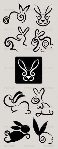 Rabbit Symbols Vector Set
