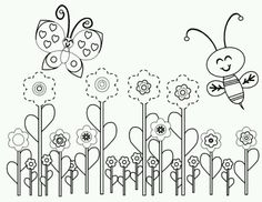 Bee And Butterfly Coloring Pages from Bee Coloring Pages For Kids. Have fun discovering pictures to print and drawings to color. Hours of fun await you as you color bee coloring pictures. The bee is an insect often kn. Garden Coloring Pages, Bee Coloring Pages, Kids Printable Coloring Pages, Spring Coloring Pages, Butterfly Coloring Page, Animal Coloring Pages, Free Coloring, Coloring Sheets, Coloring Books